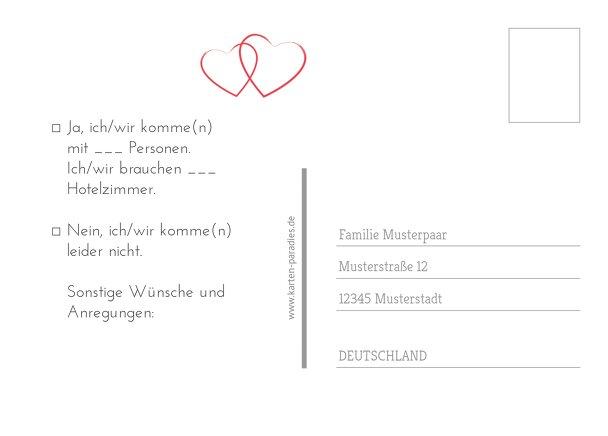 Ansicht 3 - Hochzeit Antwortkarte Herzensband