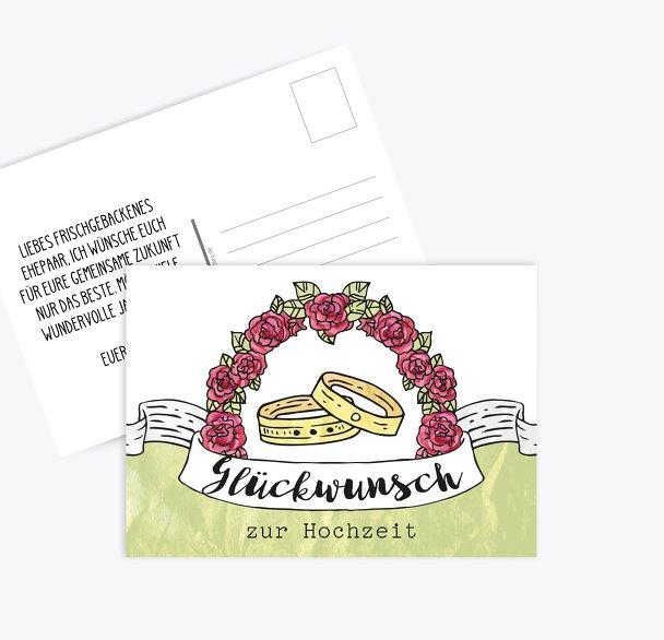Glückwunschkarte zur Hochzeit Ringe