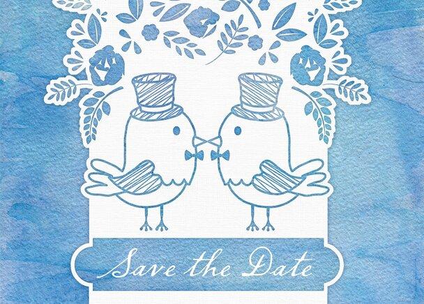 Ansicht 2 - Save-the-Date Vogelpaar- Männer