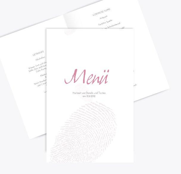 Hochzeit Menükarte fingerprint