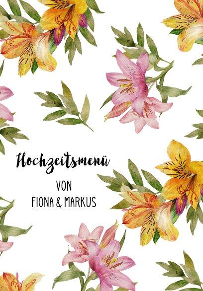 Ansicht 3 - Hochzeit Menükarte Blumendeko