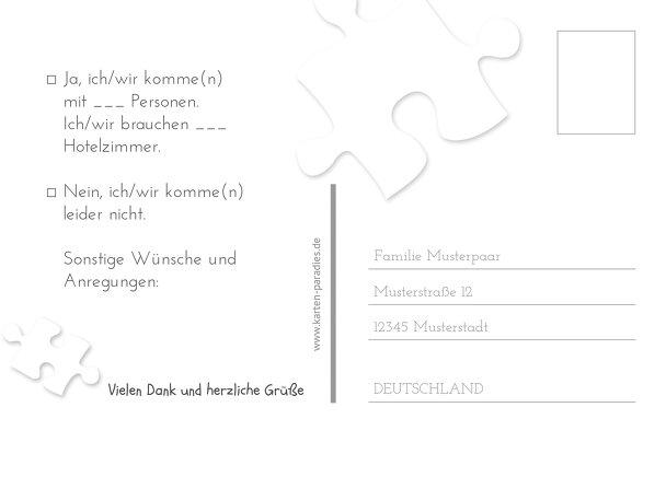 Ansicht 3 - Hochzeit Antwortkarte Puzzleteile