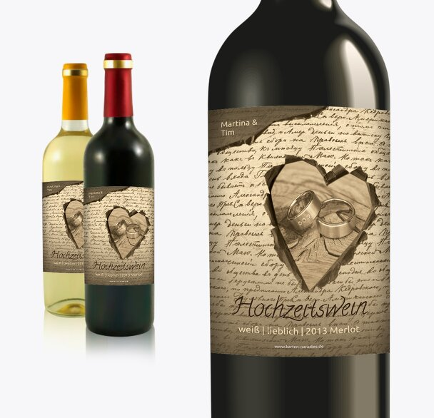 Hochzeit Flaschenetiketten Herzensgedicht