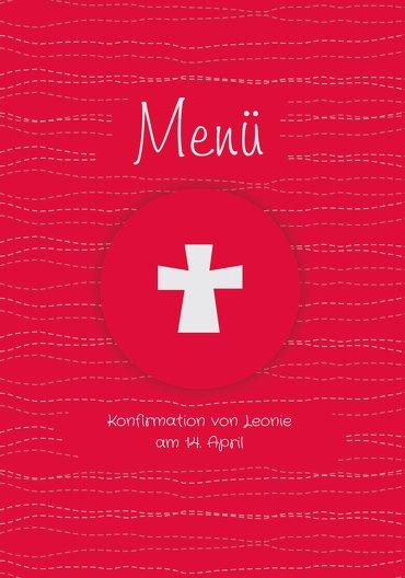Ansicht 3 - Menükarte Konfirmation Wellen Kreuz