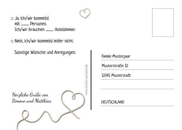 Ansicht 3 - Hochzeit Antwortkarte erfüllte Liebe