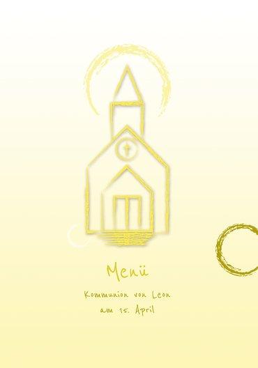 Ansicht 3 - Menükarte zur Kommunion Kirche