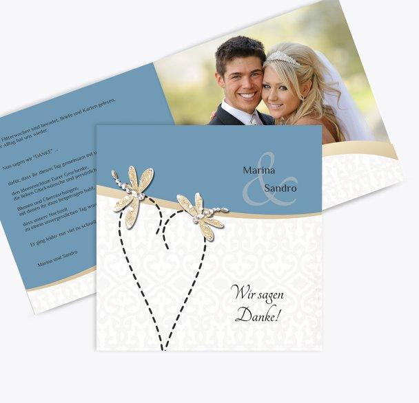 Hochzeit Dankeskarte Unzertrennlich