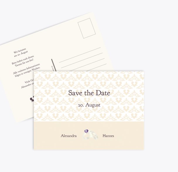 Save-the-Date Ornament mit Herz