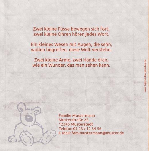 Ansicht 2 - Baby Dankeskarte Teddy-Star