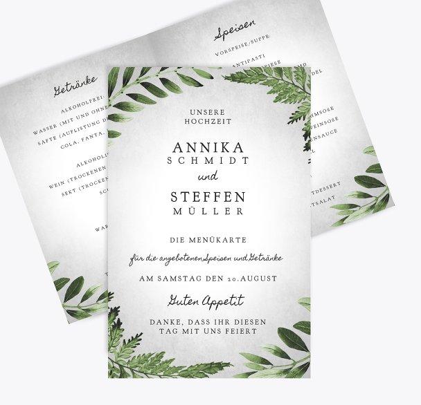 Hochzeit Menükarte Blätterwerk