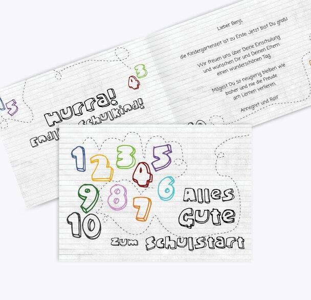 Glückwunschkarten Einschulung eins bis zehn