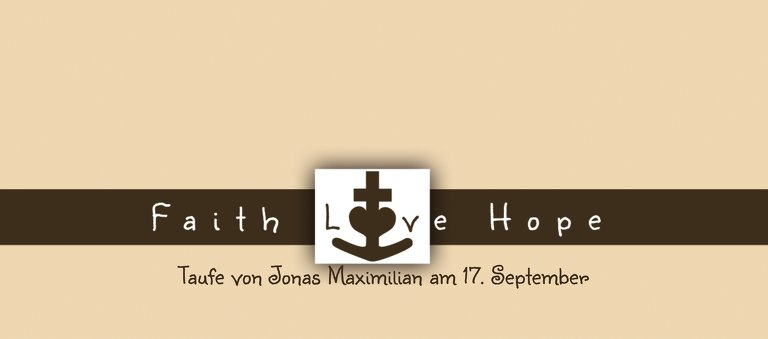Ansicht 3 - Taufe Tischkarte faith love hope