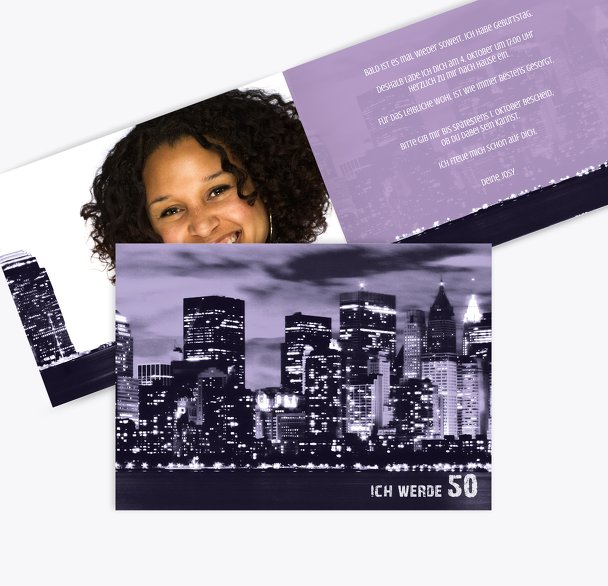 Einladung zum Geburtstag Skyline 50 Foto