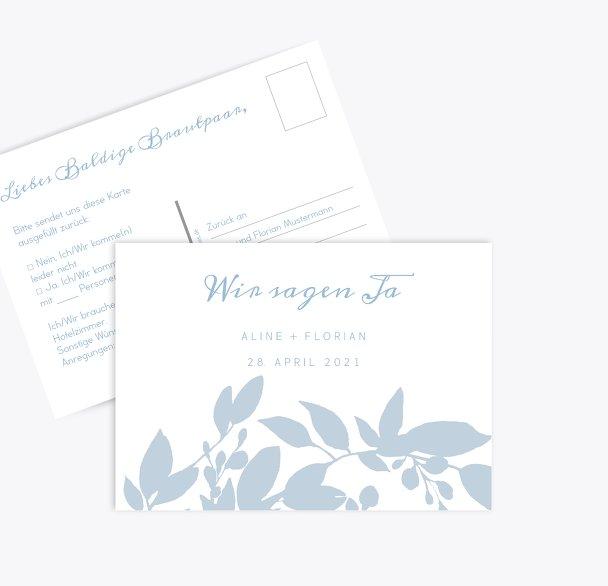 Hochzeit Antwortkarte Blauregen