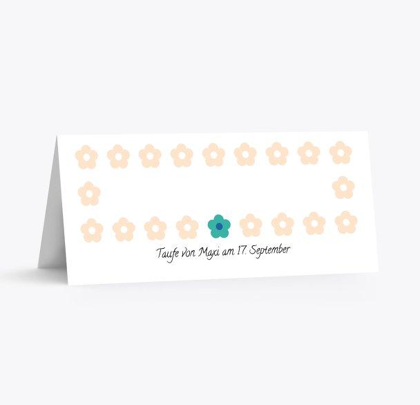 Taufe Tischkarte Blumentapete