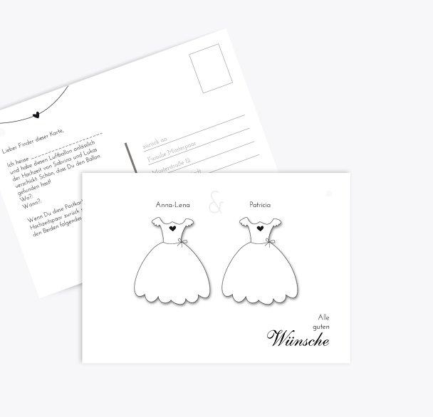 Hochzeit Ballonkarte dresses