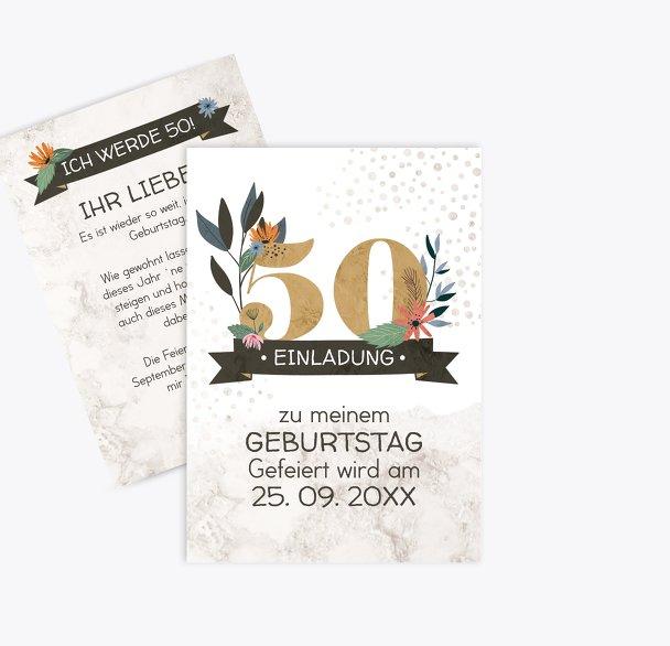 Geburtstagseinladung Blumenzahl 50