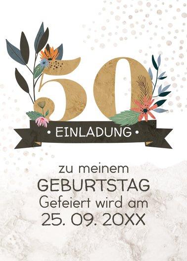 Ansicht 2 - Geburtstagseinladung Blumenzahl 50