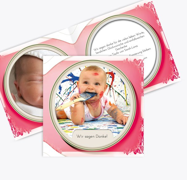 Taufe Dankeskarte Oval Frame