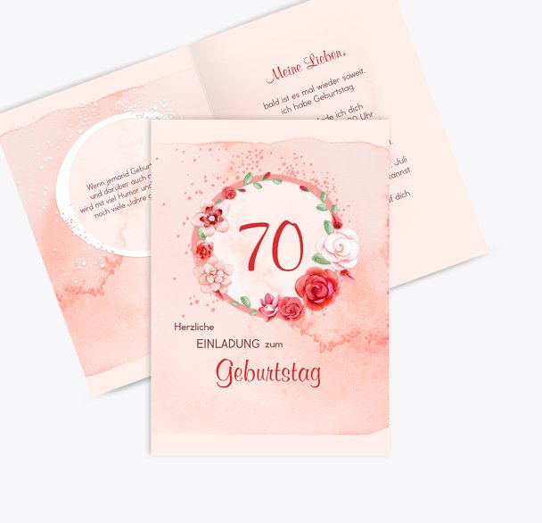 Geburtstagseinladung Aquarell Rosen 70