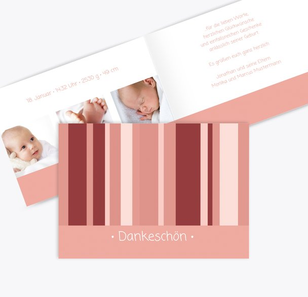 Baby Dankeskarte 3Bilder