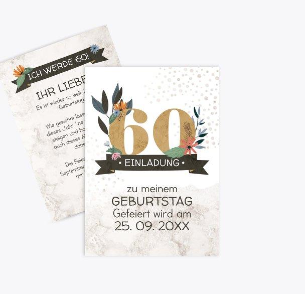 Geburtstagseinladung Blumenzahl 60