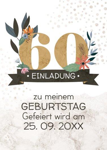 Ansicht 2 - Geburtstagseinladung Blumenzahl 60