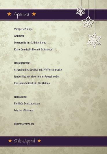 Ansicht 5 - Menükarte snowflakes