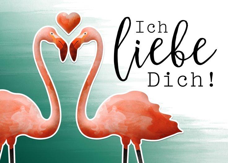 Ansicht 2 - Spruchkarte Flamingo