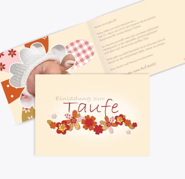Taufkarte Blumenband