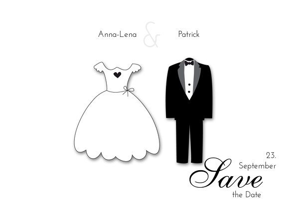 Ansicht 2 - Hochzeit Save-the-Date dress and suit