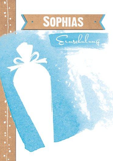 Ansicht 3 - Einladung Einschulung Schultüte Aquarell