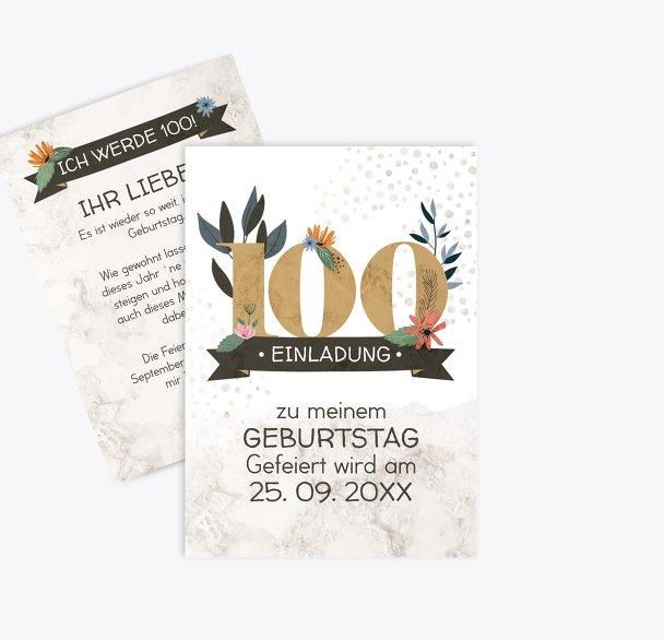 Geburtstagseinladung Blumenzahl 100