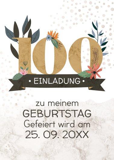Ansicht 2 - Geburtstagseinladung Blumenzahl 100
