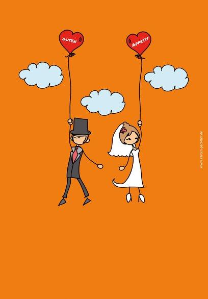Ansicht 2 - Hochzeit Menükarte Comic Brautpaar