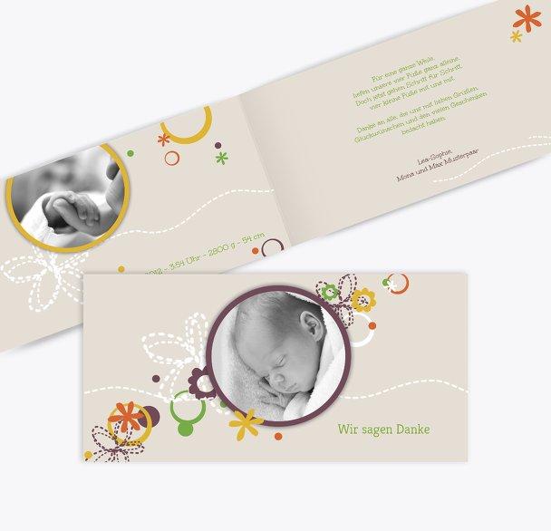 Baby Dankeskarte Blumenornament