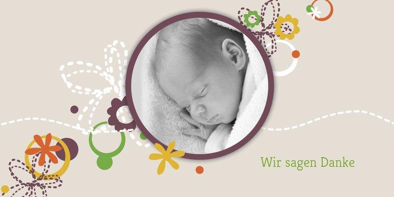 Ansicht 3 - Baby Dankeskarte Blumenornament