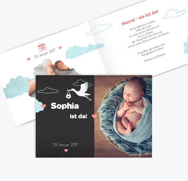 Geburtskarte Klapperstorch