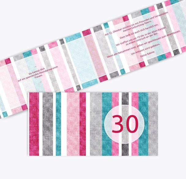 Einladung Gestreift 30