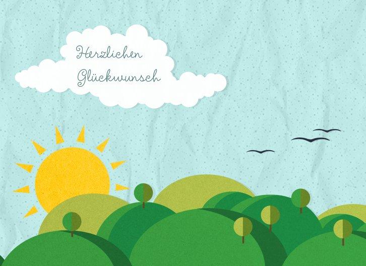 Ansicht 3 - Glückwunschkarte zur Geburt Sommerlandschaft