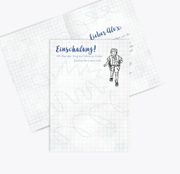 Glückwunschkarte Einschulung Zickzacklinien Junge/Mädel