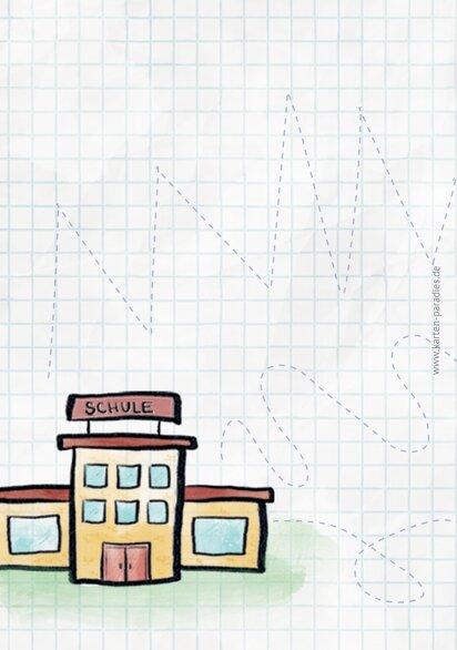 Ansicht 2 - Glückwunschkarte Einschulung Zickzacklinien Junge/Mädel