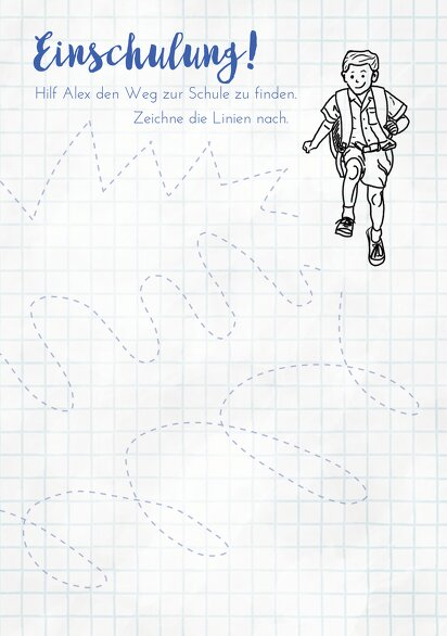 Ansicht 3 - Glückwunschkarte Einschulung Zickzacklinien Junge/Mädel