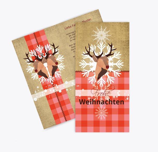 Grußkarte Hirschkopf