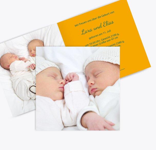 Geburtskarte Zwillinge Easy