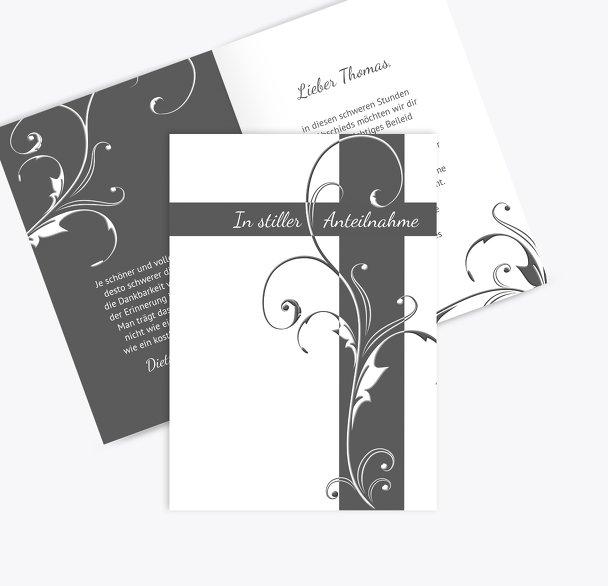 Kondolenzkarte Blumenkreuz
