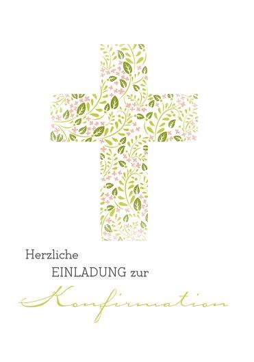 Ansicht 3 - Konfirmation Einladungskarte Blumenkreuz