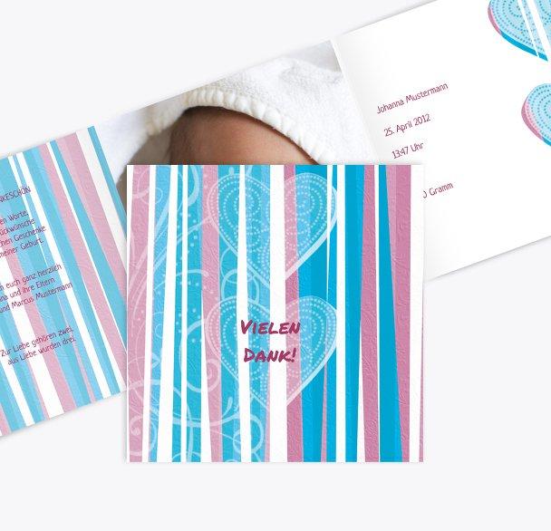 Baby Dankeskarte hearts and stripes