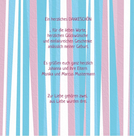 Ansicht 5 - Baby Dankeskarte hearts and stripes