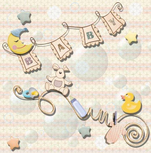 Ansicht 4 - Geburtskarte Babyelements